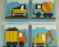 Juego 3D de construcción 4 niños arte de pared de madera, decoración transporte, excavadora, hormigonera, Bulldozer y volquete