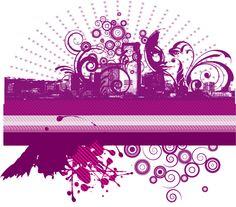 Cityscape Vector Graphic with color stripe
