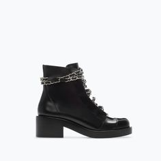 LEATHER LACE-UP BOOTIES WITH CHAINS