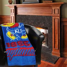 "Kansas Jayhawks 46"" x 60"" Varsity Micro Raschel Plush Blanket"