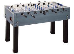 Garlando Steel Blue Weatherproof Foosball Table with Telescoping Rods, Manual Slide Scoring Unit, and 10 Balls