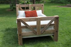 100 Year old Queen Size Barn wood Bed. by thelogbarn on Etsy, $1100.00