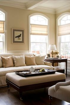 Gorgeous Family Room Design! #FamilyRoom Note: Window treatments