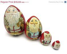 SALE Santa Nesting Dolls  4 dolls Matryoshka by VintageInBloom