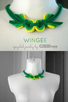Új! WINGEE rövidállású textilnyaklánc - sárga/zöld, Ékszer, óra, Nyaklánc, Meska