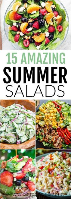 Take a look at these yummy Summer Salad Recipes. 15 of the best easy summer salads for you to try this summer. So light and tasty. #summersalad #easysalad #onecrazymom