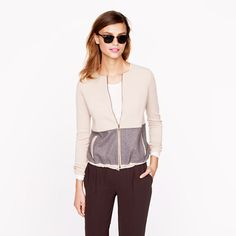 Two-Tone Zip Cardigan. Win J.Crew discount Gift Cards on http://www.cityhits.com and use them towards zip cardigans like this one. #fashion #trend #fall2013