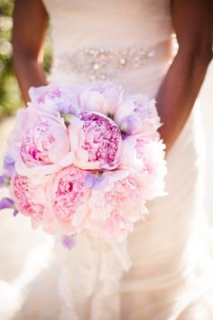 Amazing color! Love the pop of purple in this pink peony bouquet. Photographer: Jessamyn Harris, Floral Design: Huckleberry Karen Designs
