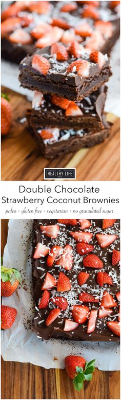 Double Chocolate Strawberry Coconut Brownies are a dense and incredible tasting brownie, with a double layer of chocolate topped with sweet fresh organic strawberries and unsweetened shredded coconut. This recipe contains no flour, granulated sugar, or butter. Making it a very clean, gluten-free, grain free, soy free, vegetarian and paleo recipe.- A Healthy Life For Me