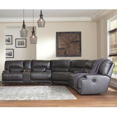 3-piece gray leather reclining sofa