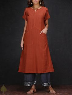 Buy Madder Cotton Kurta with Pockets by Jaypore Women Kurtas The Color Bouquet Contemporary and zari embroidered palazzos Online at Jaypore.com