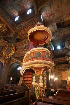 Extraordinarily decorated wooden pulpit inside the Church of Peace in Swidnica, Lower Silesia, Poland