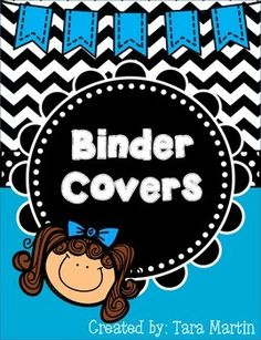 Binder Covers & Dividers {Black & Blue Chevron with Banner}