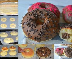 Donuts al forno farciti al cioccolato al latte e nutella Ricetta con farcitura e senza teglia apposta