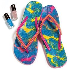 We know you'll flip for these flops! Embellished with cool coral-colored faceted faux stones and featuring a super-comfy molded foot bed with a fun palm leaf motif, they go toe-to-toe with any other sandals!  : Sale $14.99
