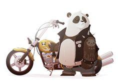Biker Panda! on Behance ★ Find more at http://www.pinterest.com/competing
