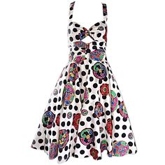 Vintage Louis Feraud Black and White Polka Dot Tiki Fit and Flare Cut Out Dress…