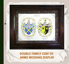Double Family Coat of Arms Wedding Display.