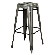 Add a pop of midcentury appeal to your kitchen island or pub table with this retro-style steel barstool, showcasing a galvanized finish.