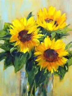"""""""Three for You"""" by artist Libby Anderson. Sunflower art"""