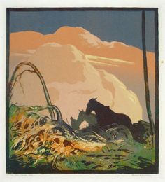 The Wood Lot. Ernest W Watson Linoleum block print
