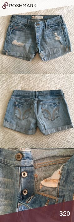 Hollister Light Wash Jean Shorts Like new condition. I can't remember ever wearing these shorts. No signs of wear. Button fly. Hollister size 1. Hollister Shorts Jean Shorts