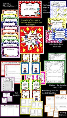 This has everything you need to celebrate those classroom birthdays in superhero style!!!! :) Great value!!!