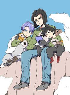 Android 17 Kid Trunks and Goten Dragon Ball Z, Dragon Z, Dragon Ball Image, Fanart Manga, Manga Anime, Goten E Trunks, Dragon Images, Cute Dragons, Fanarts Anime