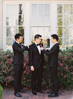 Groomsmen helping groom get ready. Groom And Groomsmen Style, Groom Style, Groom Getting Ready, Baltimore Wedding, Wedding Boudoir, Wedding Photography Packages, Pink Garden, Wedding Officiant, Groom Outfit