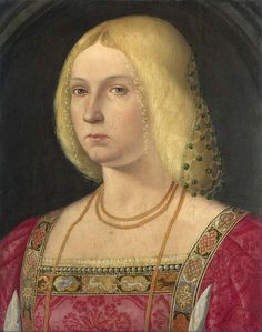 Jeweled caul and fancy trim! Portrait of a Lady about 1510-20, Italian, Venetian. National Gallery, London by renzodionigi, via Flickr