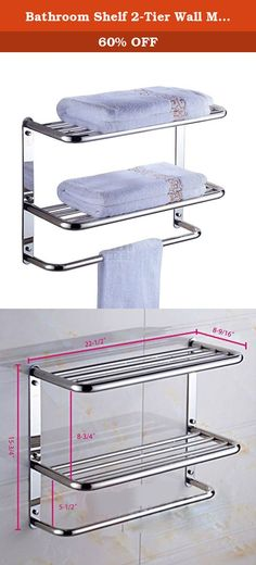 Bathroom Shelf 2-Tier Wall Mounting Rack with Towel Bars. HEAVY DUTY: All metal construction, ensuring quality and longevity. RUST PROOF: Made of SUS304 Stainlees Steel. CHROME FINISH: Industry-leading multi-layer chrome finish, build to resist daily scratches, corrosions and tarnishing. Mounts on the wall. All mounting hardware (screws/wall anchors) included. Towel Bars, Wall Anchors, Bathroom Hardware, Bathroom Shelves, Chrome Finish, Rust, Home Improvement, Shelf, Construction