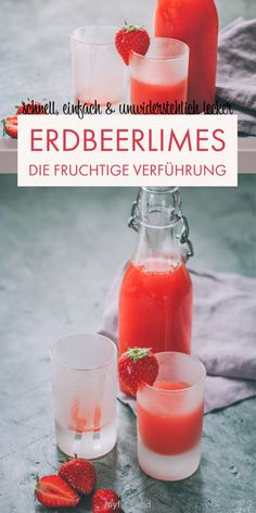 Erdbeerlimes Recipe for super delicious, quick and easy strawberry limes. Also suitable for the Thermomix®. Lactation Recipes, Lactation Cookies, Smoothie Bowl, Smoothie Recipes, Winter Drinks, Vegetable Drinks, Healthy Eating Tips, Strawberry Recipes, Weight Loss Smoothies