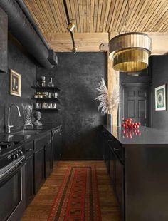 Black Kitchen Cabinets, Black Kitchens, Dark Cabinets, Diy Kitchens, Wood Cabinets, Bedroom Vintage, Kitchen Interior, Kitchen Decor, Kitchen Colors
