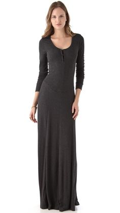 A basque waist and henley top lend a romantic feel to this cozy jersey maxi dress. Seams tailor the bodice and flow into the skirt where they subtly flare to the floor-skimming silhouette. On-seam hip pockets. Unlined.    Fabric: Jersey.  95% modal/5% spandex.    $163