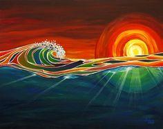 """Ocean Sunset Surf Art Print """"Rays"""" for Tropical Beach Wall Decor, by Patrick Parker Art, Hawaiian Surf Artist (Unmatted) No Wave, Tenacious D, Arte Alien, Sunset Surf, Hawaiian Art, Beach Wall Decor, Surfboard Art, Wave Art, Ocean Art"""