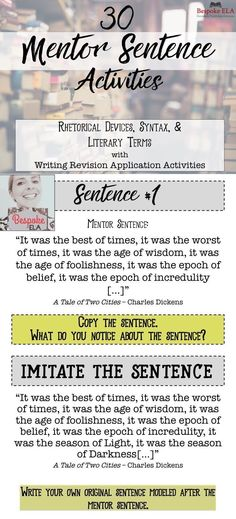 This product is a POWER POINT that contains 30 MENTOR SENTENCES from famous classic writers to model key literary terms, rhetorical devices, and syntactical structures for students. Excellent for high school English Language Arts including Advanced Place