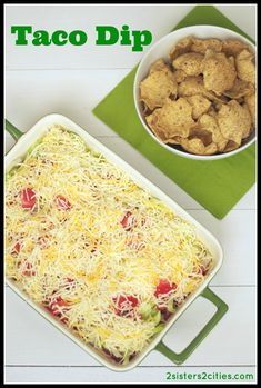 Taco Dip- If you are on the search for an easy recipe to add to your menu for this Super Bowl Sunday, this taco dip recipe is just for you {from 2 Sisters 2 Cities}