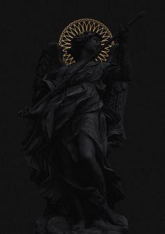 matte black, gold, composition