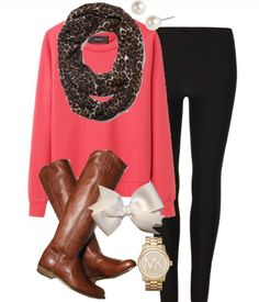 Cute Fall/ Lazy Day look! Scarf, baggy sweater, leggings, boots, and of course accessories!!!! Love it!!!