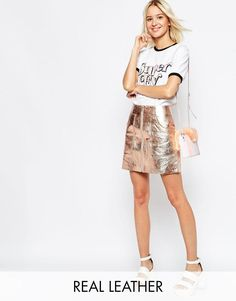 ASOS | ASOS Metallic Leather Skirt With Oversized Pockets at ASOS