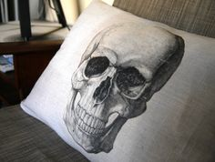 Skull Pillow Cover  Halloween Decoration by DeliriumDecor on Etsy, $30.00
