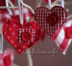 Fabric Hearts Ornaments 3