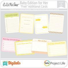 Freebie baby project life cards
