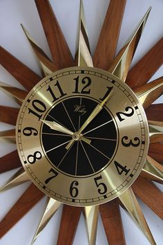 Mid Century Sunburst Teak Welby Wall Clock