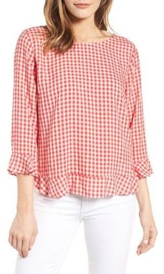 Velvet by Graham & Spencer Women's Ruffled Check Blouse