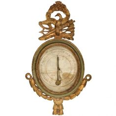 18th Century French Barometer  Description: A French Provincial Carved Gilt Wood And Painted Barometer.    Origin: France  Width / Length: 20  Height: 38  Condition: Very Good; Consistant with age  Dealer Reference: JM0018  Dealer Information: J & M Antiques 3714 South Dixie Highway West Palm Beach, FL, 33405 United States Phone: 954-629-1383 Fax: 954-772-2694 Email: rjkielian@aol.com