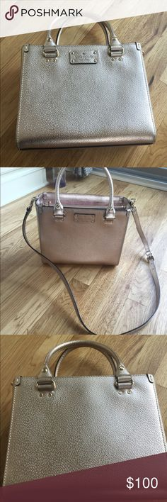 Kate spade Rose gold purse This gorgeous structured purse is rose gold and has been used 2 times. No markings. Comes with a strap to wear on your shoulder or crossbody. Mint condition! kate spade Bags Shoulder Bags