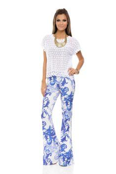Calça Flare Estampa Arabesco Azul - roupas-calcas-calca-flare-estampa-arabesco-azul Iorane                                                                                                                                                                                 Mais