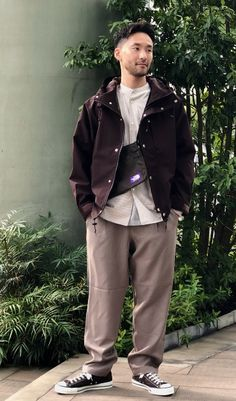 Japan Men Fashion, Mens Fashion, Raincoat, Khaki Pants, Clothing, Jackets, Style, Moda Masculina, Rain Jacket
