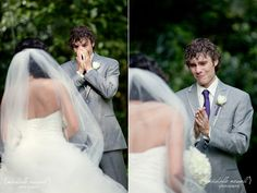 awwww!!! Priceless photography moment; when the groom sees the bride for the first time.